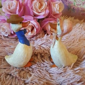 VTG Farmhouse Carved Wooden Geese Figurines